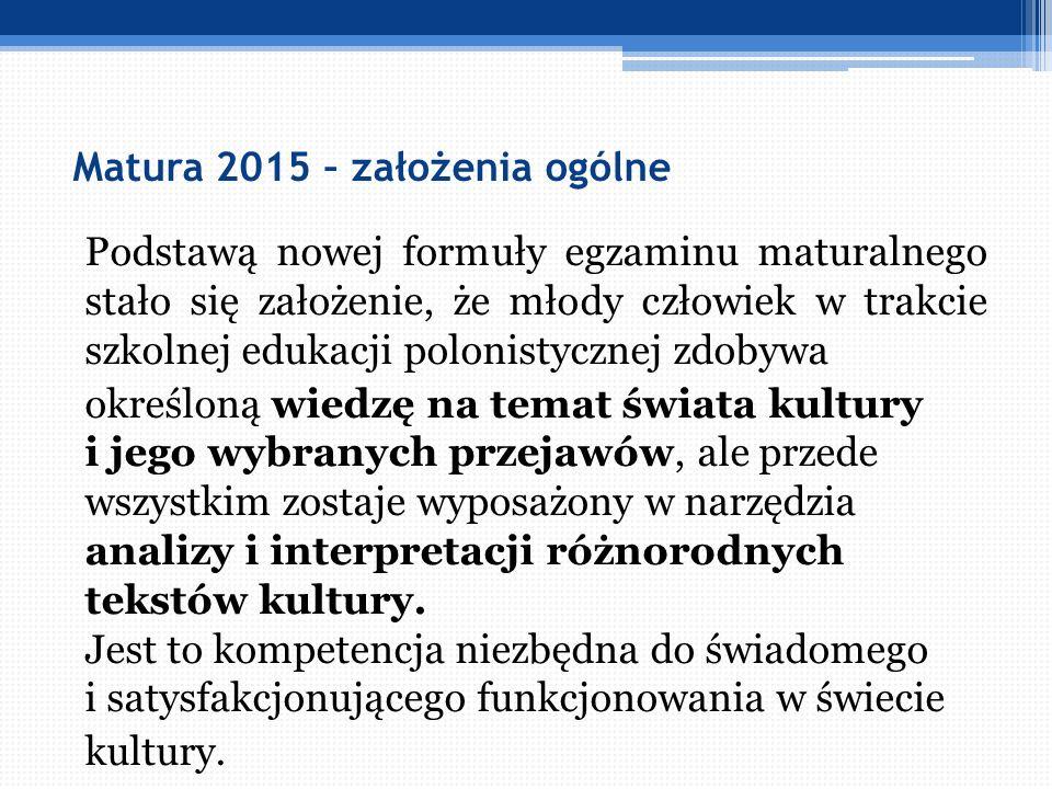 Matura 2015 – założenia ogólne Podstawą nowej formuły egzaminu maturalnego stało się założenie, że młody człowiek w trakcie szkolnej edukacji polonist