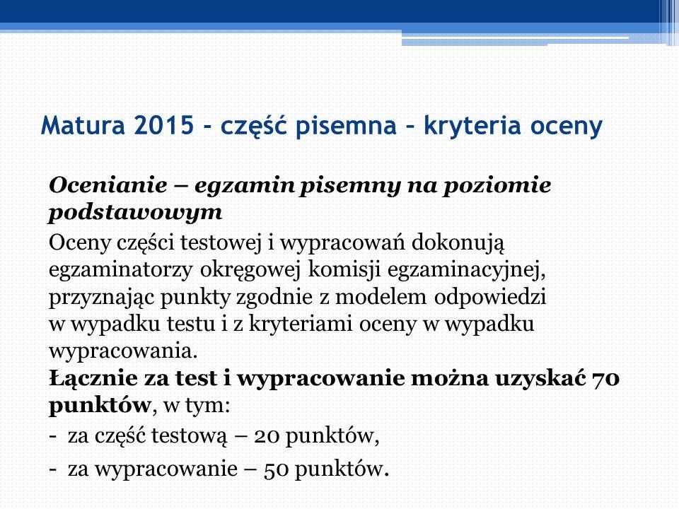 Matura 2015 - część pisemna – kryteria oceny Ocenianie – egzamin pisemny na poziomie podstawowym Oceny części testowej i wypracowań dokonują egzaminat