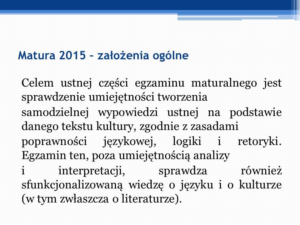 Matura 2015 – założenia ogólne Forma ustnej części egzaminu wyznacza priorytety dydaktyce polonistycznej, m.in: konieczność częstego stawiania uczniów w sytuacji wymagającej budowania wielozdaniowych wypowiedzi i uwrażliwienia ich na kulturę rozmowy.