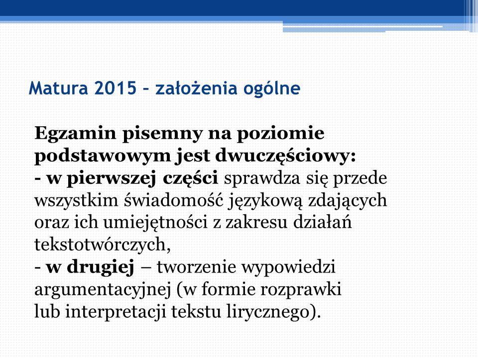 Matura 2015 - część pisemna - uwagi ogólne Bardzo ważna znajomość utworów z gwiazdką.