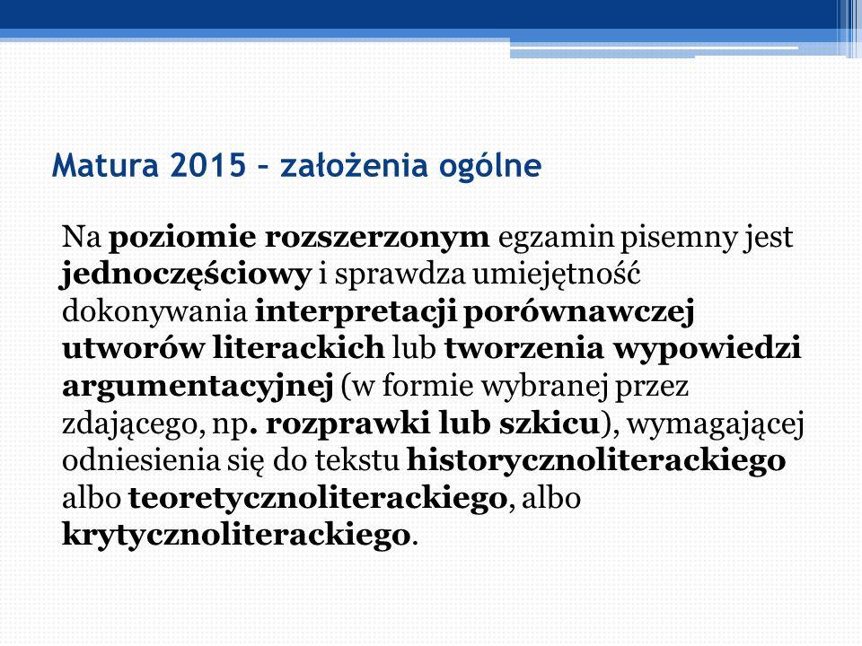 Matura 2015 – założenia ogólne Ujednolicone, stałe formy wypowiedzi sprawdzane na obu poziomach egzaminu w kolejnych latach oraz stałe, uniwersalne kryteria oceniania dla poszczególnych form wypowiedzi ułatwią uczniom przygotowanie się do egzaminu, ukierunkują edukację polonistyczną na rozwijanie rzeczywistych umiejętności związanych z tworzeniem tekstu, będą wsparciem dla samodzielnego stawiania tez i dochodzenia do interpretacyjnych wniosków.