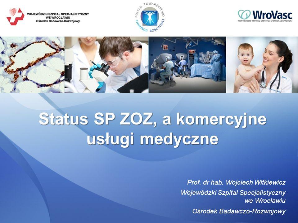 Prof. dr hab. Wojciech Witkiewicz Wojewódzki Szpital Specjalistyczny we Wrocławiu Ośrodek Badawczo-Rozwojowy Status SP ZOZ, a komercyjne usługi medycz