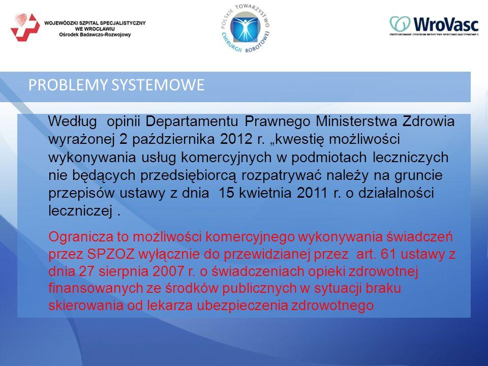 PROBLEMY SYSTEMOWE Według opinii Departamentu Prawnego Ministerstwa Zdrowia wyrażonej 2 października 2012 r. kwestię możliwości wykonywania usług kome