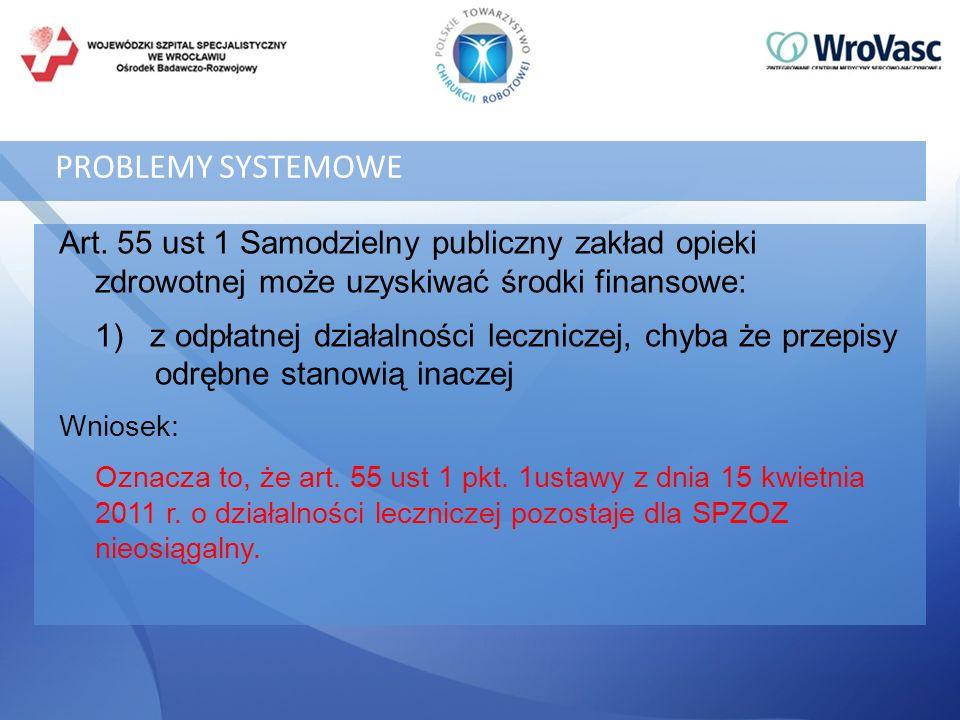 PROBLEMY SYSTEMOWE Art. 55 ust 1 Samodzielny publiczny zakład opieki zdrowotnej może uzyskiwać środki finansowe: 1) z odpłatnej działalności lecznicze
