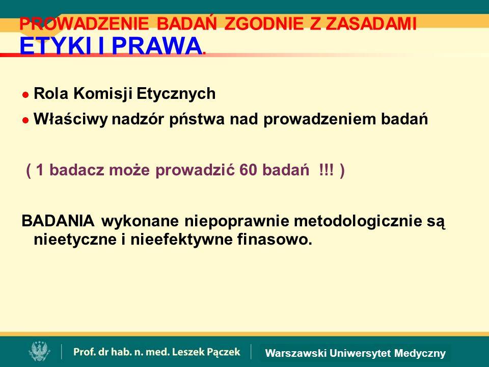 Warszawski Uniwersytet Medyczny PROWADZENIE BADAŃ ZGODNIE Z ZASADAMI ETYKI I PRAWA.