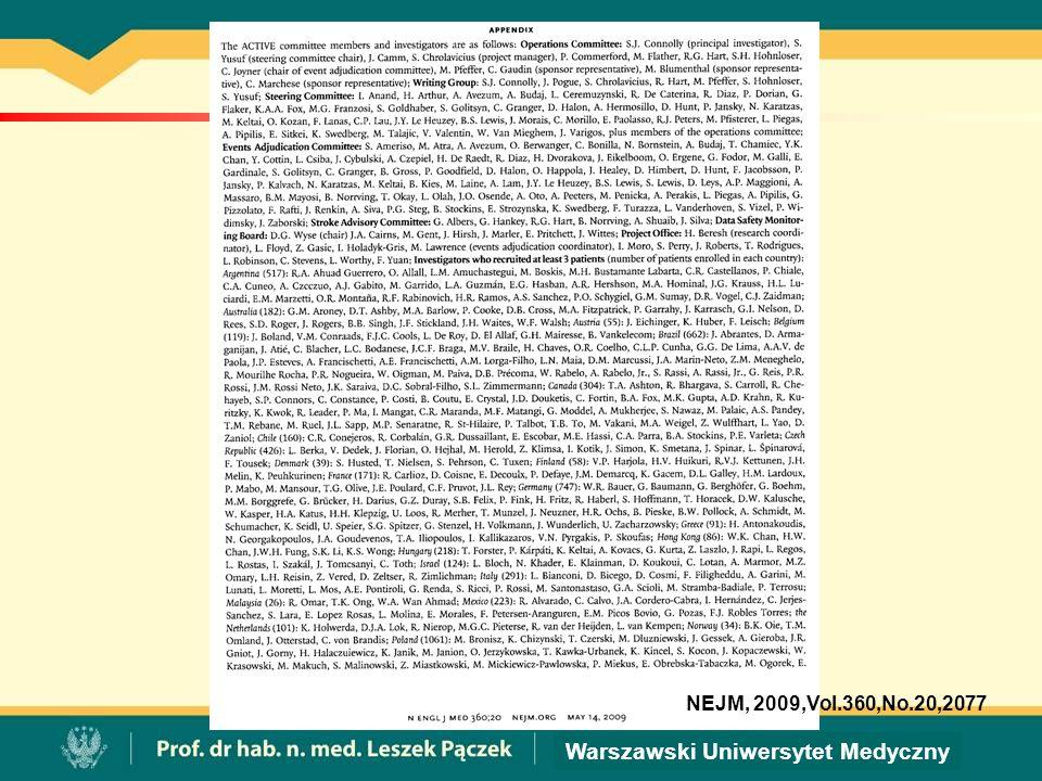 Warszawski Uniwersytet Medyczny NEJM, 2009,Vol.360,No.20,2077
