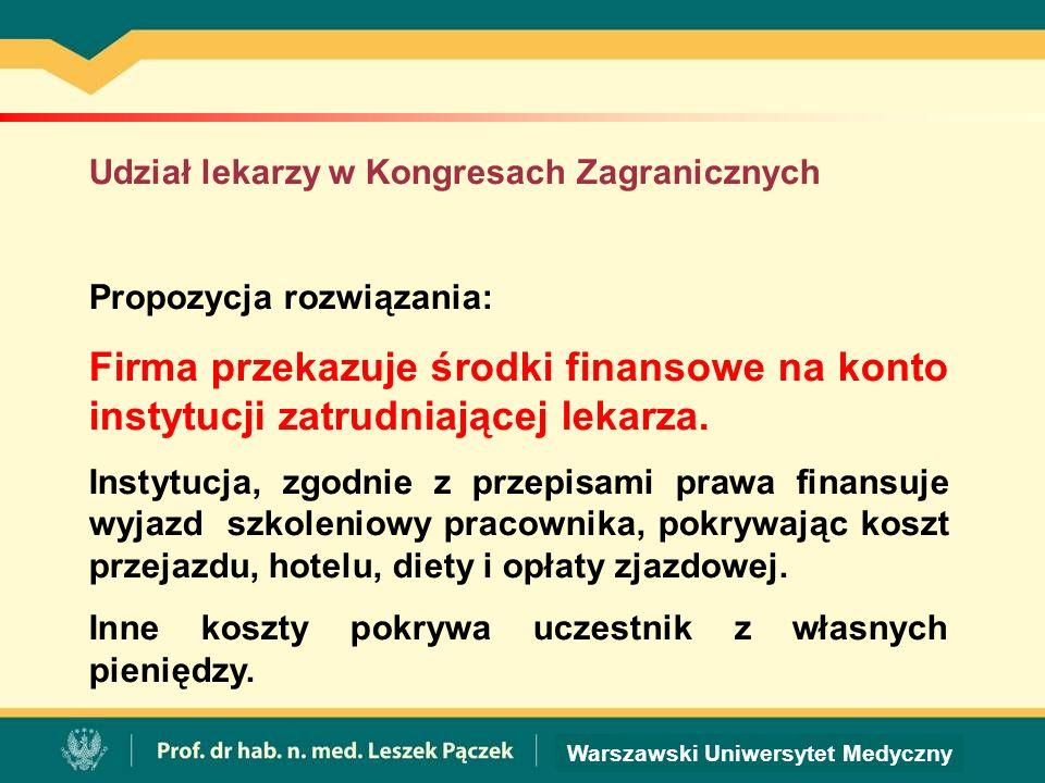 Warszawski Uniwersytet Medyczny Udział lekarzy w Kongresach Zagranicznych Propozycja rozwiązania: Firma przekazuje środki finansowe na konto instytucji zatrudniającej lekarza.