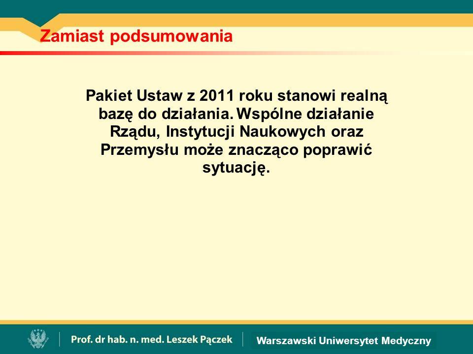 Warszawski Uniwersytet Medyczny Zamiast podsumowania Pakiet Ustaw z 2011 roku stanowi realną bazę do działania.