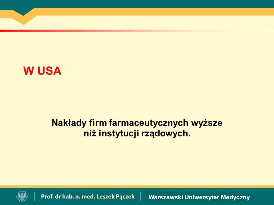 Warszawski Uniwersytet Medyczny W USA Nakłady firm farmaceutycznych wyższe niż instytucji rządowych.