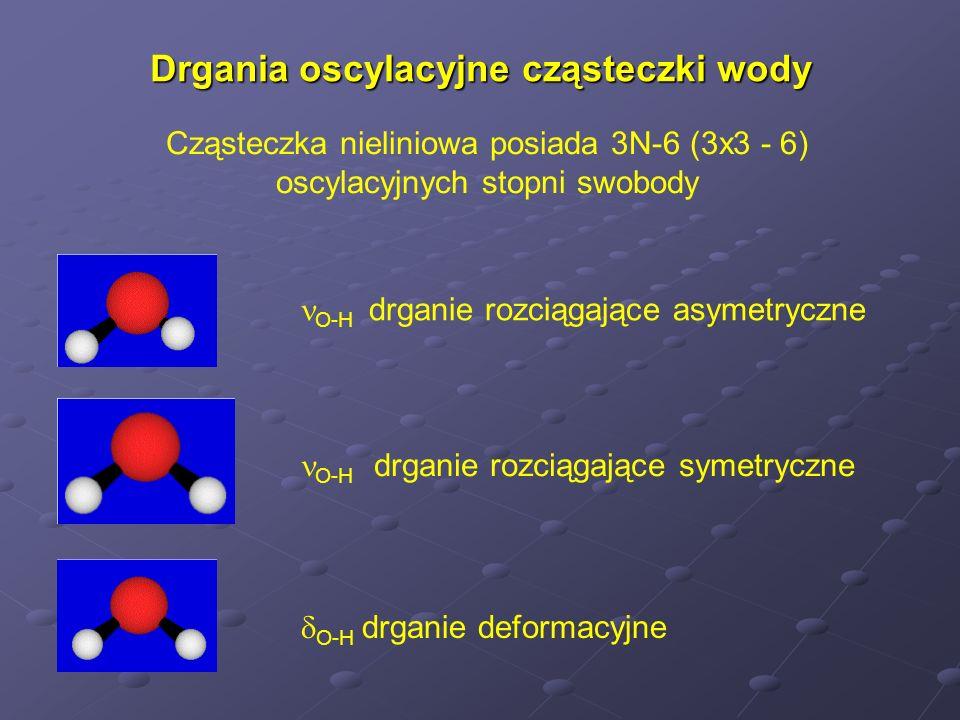 Drgania oscylacyjne cząsteczki wody Cząsteczka nieliniowa posiada 3N-6 (3x3 - 6) oscylacyjnych stopni swobody O-H drganie rozciągające asymetryczne O-