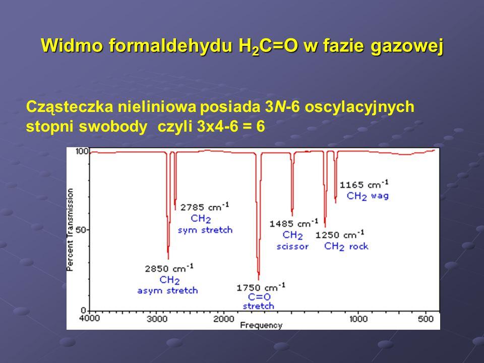 Widmo formaldehydu H 2 C=O w fazie gazowej Cząsteczka nieliniowa posiada 3N-6 oscylacyjnych stopni swobody czyli 3x4-6 = 6