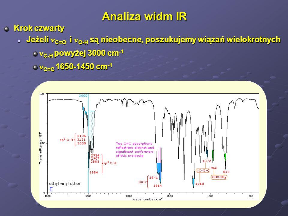 Analiza widm IR Krok czwarty Jeżeli C=O i O-H są nieobecne, poszukujemy wiązań wielokrotnych Jeżeli C=O i O-H są nieobecne, poszukujemy wiązań wielokr