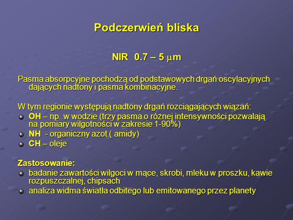 Podczerwień bliska NIR 0.7 – 5 m Pasma absorpcyjne pochodzą od podstawowych drgań oscylacyjnych dających nadtony i pasma kombinacyjne. W tym regionie