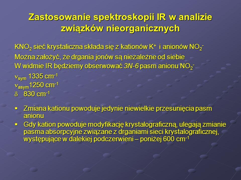 Zastosowanie spektroskopii IR w analizie związków nieorganicznych KNO 2 sieć krystaliczna składa się z kationów K + i anionów NO 2 - Można założyć, że