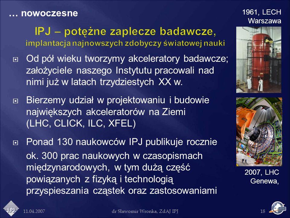 11.04.2007dr Sławomir Wronka, ZdAJ IPJ18 Od pół wieku tworzymy akceleratory badawcze; założyciele naszego Instytutu pracowali nad nimi już w latach tr