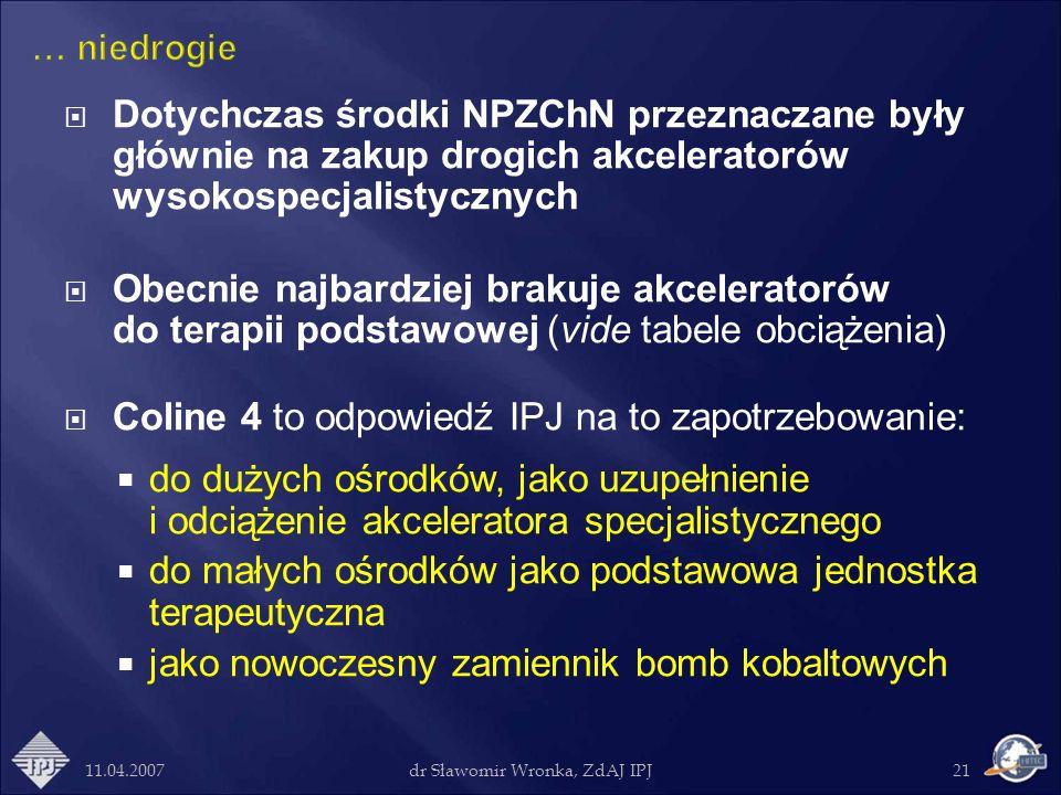 11.04.2007dr Sławomir Wronka, ZdAJ IPJ21 Dotychczas środki NPZChN przeznaczane były głównie na zakup drogich akceleratorów wysokospecjalistycznych Obe