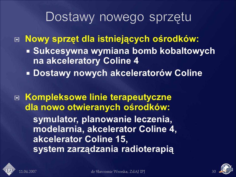 11.04.2007dr Sławomir Wronka, ZdAJ IPJ30 Nowy sprzęt dla istniejących ośrodków: Sukcesywna wymiana bomb kobaltowych na akceleratory Coline 4 Dostawy n