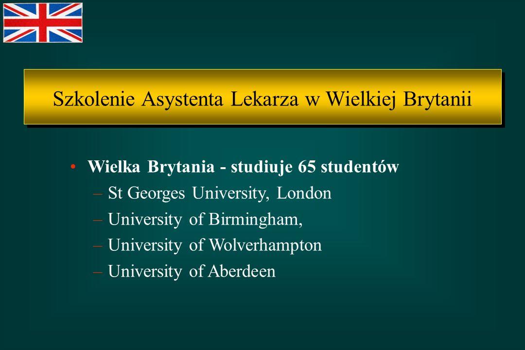 Wielka Brytania - studiuje 65 studentów –St Georges University, London –University of Birmingham, –University of Wolverhampton –University of Aberdeen