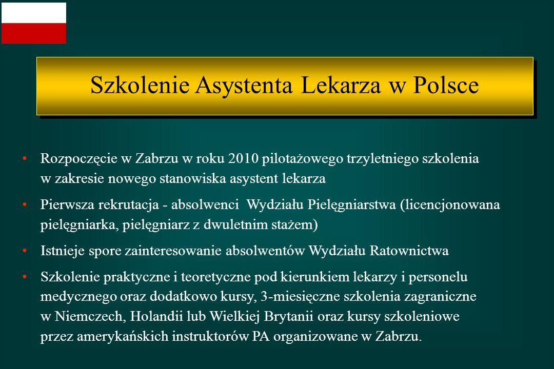 Rozpoczęcie w Zabrzu w roku 2010 pilotażowego trzyletniego szkolenia w zakresie nowego stanowiska asystent lekarza Pierwsza rekrutacja - absolwenci Wy