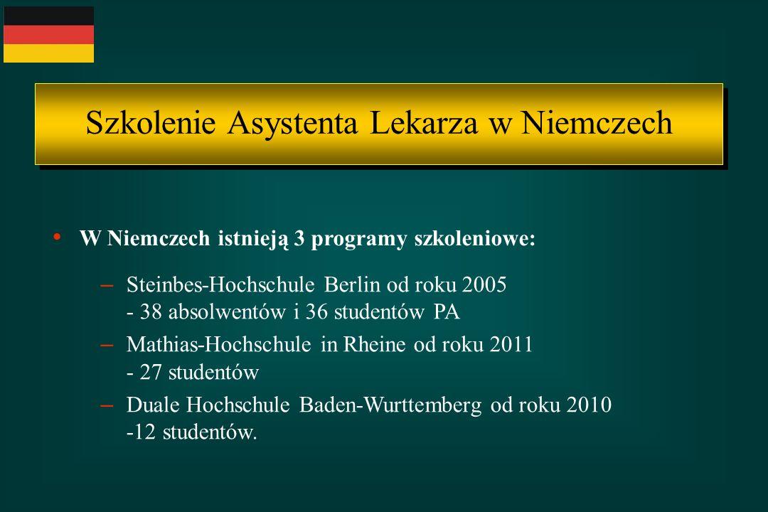 Szkolenie Asystenta Lekarza w Niemczech W Niemczech istnieją 3 programy szkoleniowe: – Steinbes-Hochschule Berlin od roku 2005 - 38 absolwentów i 36 s