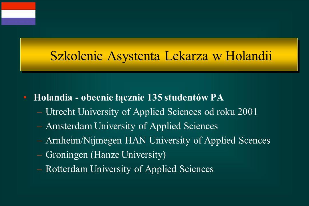 Holandia - obecnie łącznie 135 studentów PA –Utrecht University of Applied Sciences od roku 2001 –Amsterdam University of Applied Sciences –Arnheim/Ni