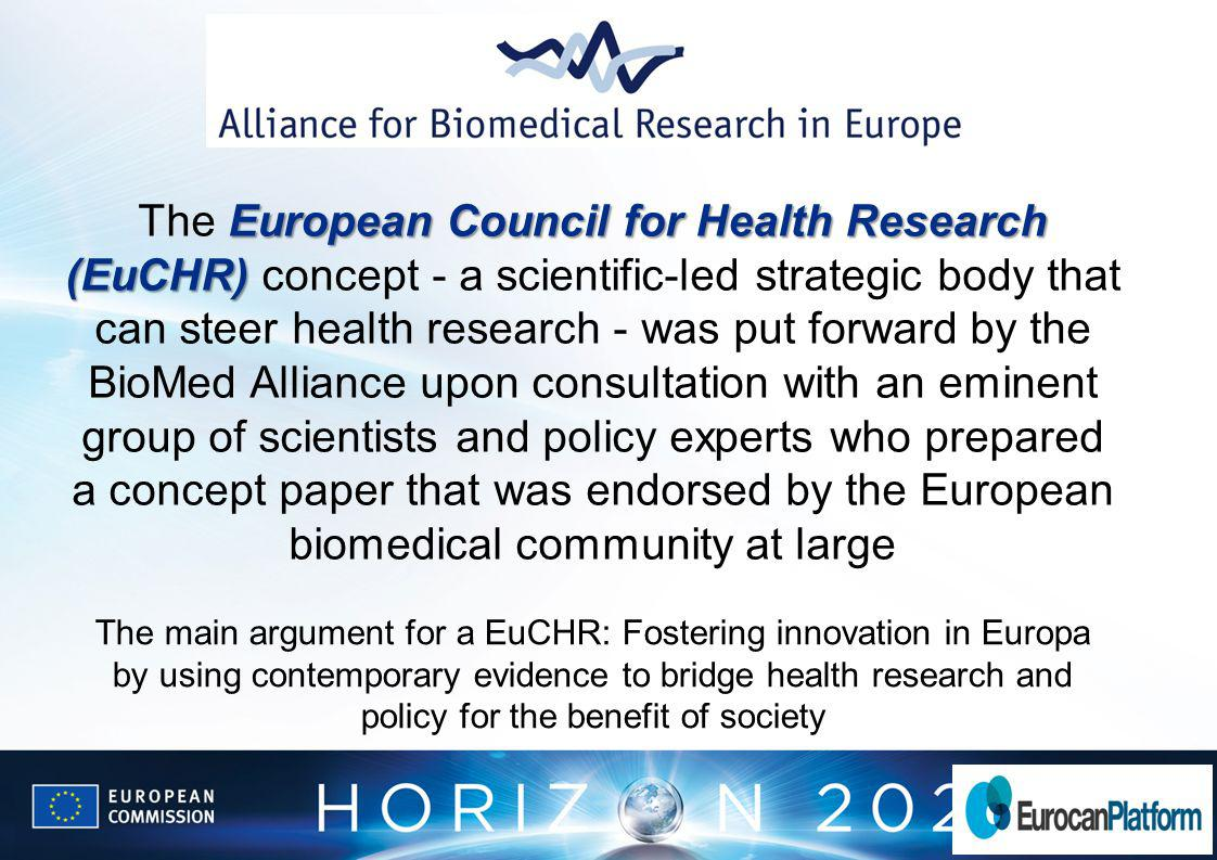 European Council for Health Research (EuCHR) The European Council for Health Research (EuCHR) concept - a scientific-led strategic body that can steer health research - was put forward by the BioMed Alliance upon consultation with an eminent group of scientists and policy experts who prepared a concept paper that was endorsed by the European biomedical community at large The main argument for a EuCHR: Fostering innovation in Europa by using contemporary evidence to bridge health research and policy for the benefit of society