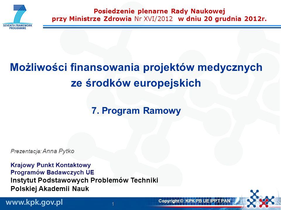 1 Copyright © KPK PB UE IPPT PAN Posiedzenie plenarne Rady Naukowej przy Ministrze Zdrowia Nr XVI/2012 w dniu 20 grudnia 2012r. Możliwości finansowani