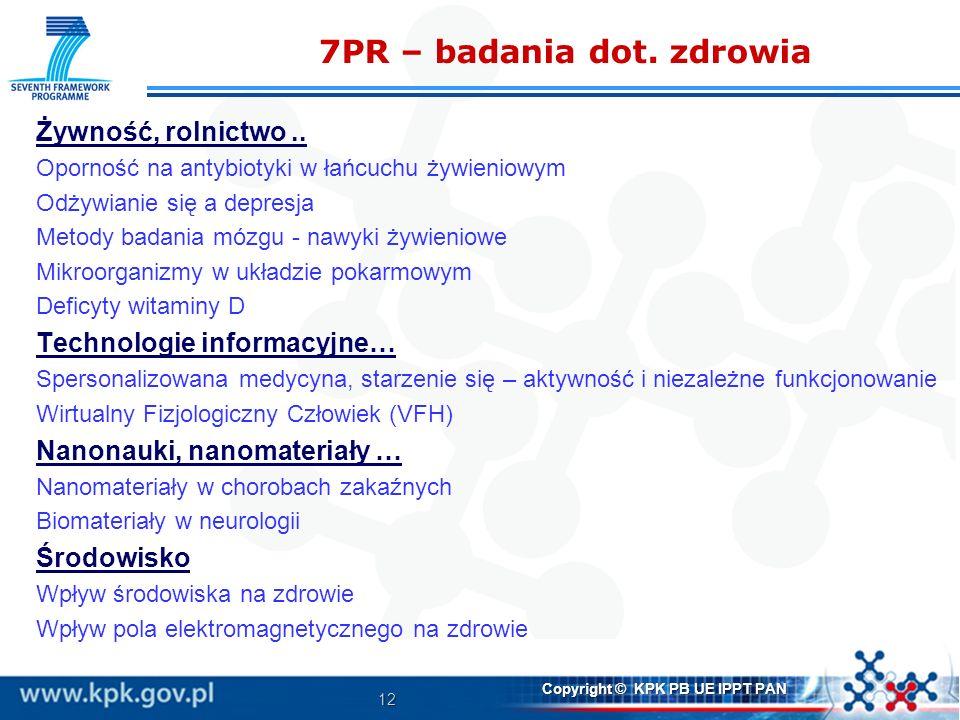 12 Copyright © KPK PB UE IPPT PAN 7PR – badania dot. zdrowia Żywność, rolnictwo.. Oporność na antybiotyki w łańcuchu żywieniowym Odżywianie się a depr