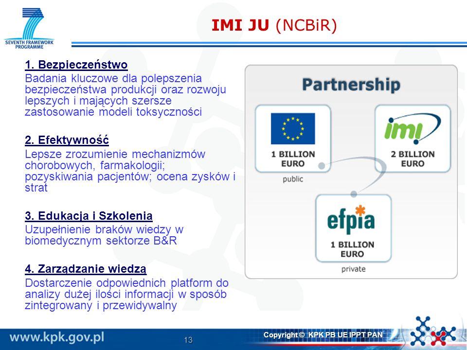 13 Copyright © KPK PB UE IPPT PAN IMI JU (NCBiR) 1. Bezpieczeństwo Badania kluczowe dla polepszenia bezpieczeństwa produkcji oraz rozwoju lepszych i m