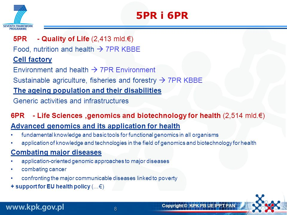 8 Copyright © KPK PB UE IPPT PAN 5PR i 6PR 5PR - Quality of Life (2,413 mld.) Food, nutrition and health 7PR KBBE Cell factory Environment and health