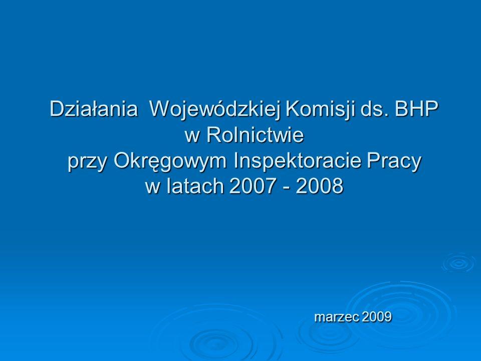 Działania Wojewódzkiej Komisji ds. BHP w Rolnictwie przy Okręgowym Inspektoracie Pracy w latach 2007 - 2008 marzec 2009