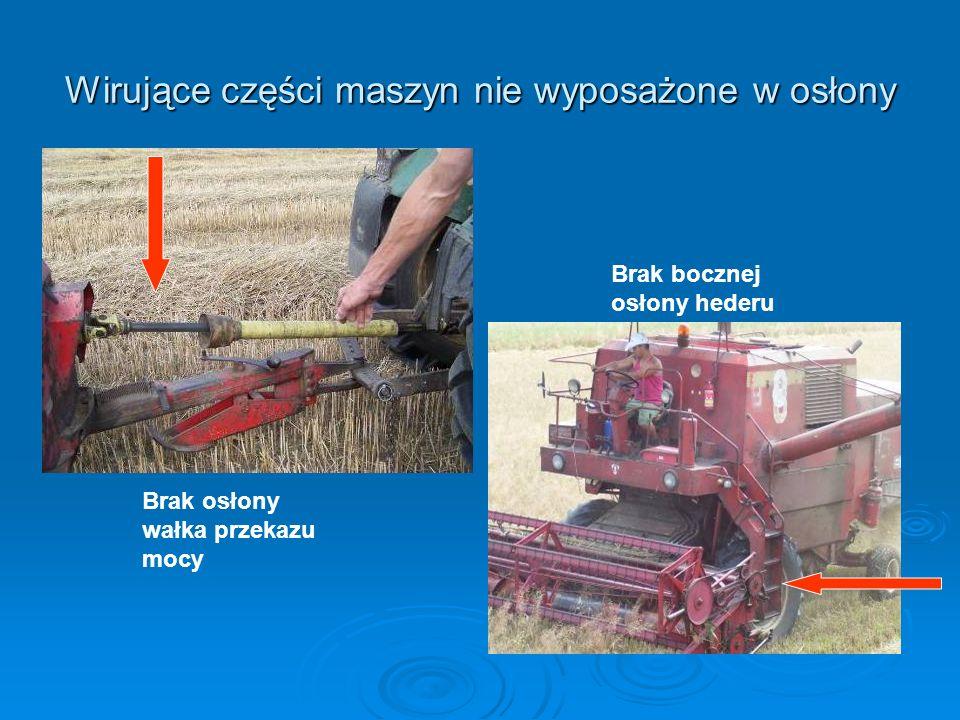 Wirujące części maszyn nie wyposażone w osłony Brak bocznej osłony hederu Brak osłony wałka przekazu mocy