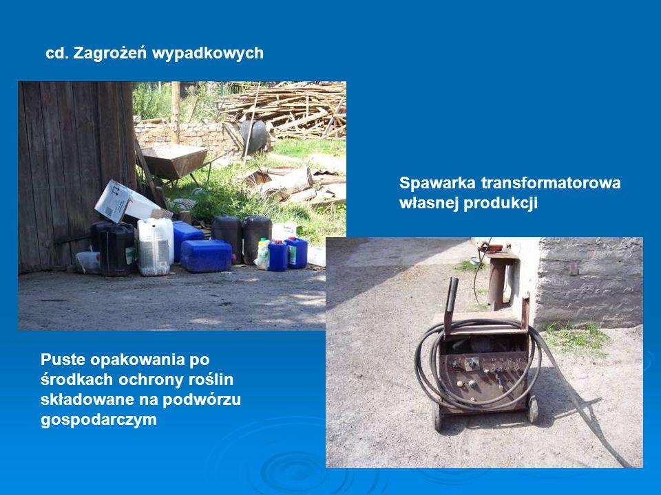 cd. Zagrożeń wypadkowych Puste opakowania po środkach ochrony roślin składowane na podwórzu gospodarczym Spawarka transformatorowa własnej produkcji