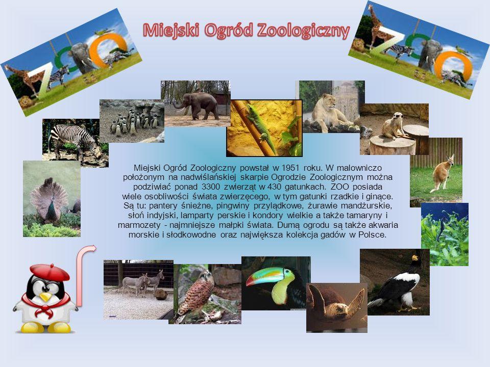 Miejski Ogród Zoologiczny powstał w 1951 roku. W malowniczo położonym na nadwiślańskiej skarpie Ogrodzie Zoologicznym można podziwiać ponad 3300 zwier