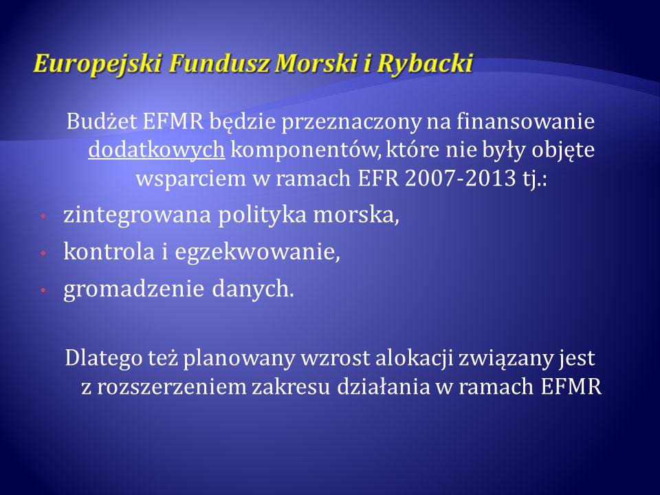 Budżet EFMR będzie przeznaczony na finansowanie dodatkowych komponentów, które nie były objęte wsparciem w ramach EFR 2007-2013 tj.: zintegrowana poli