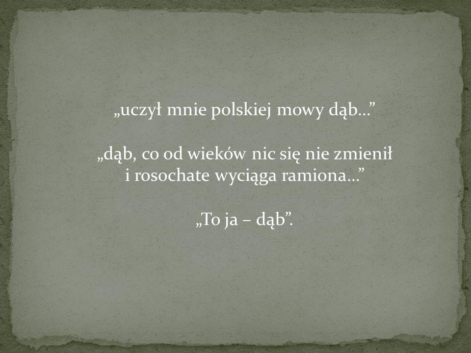 uczył mnie polskiej mowy dąb… dąb, co od wieków nic się nie zmienił i rosochate wyciąga ramiona… To ja – dąb.