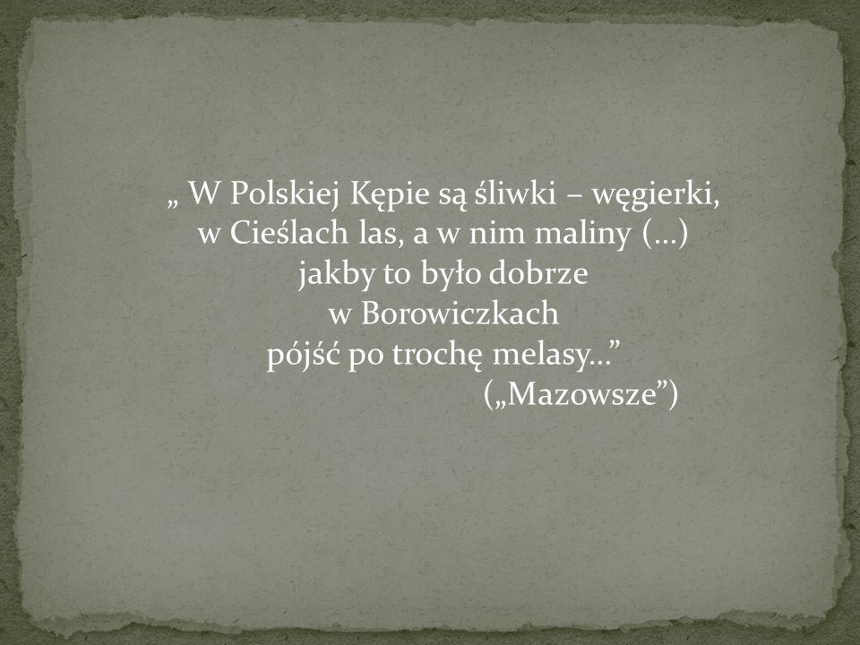 W Polskiej Kępie są śliwki – węgierki, w Cieślach las, a w nim maliny (…) jakby to było dobrze w Borowiczkach pójść po trochę melasy… (Mazowsze)
