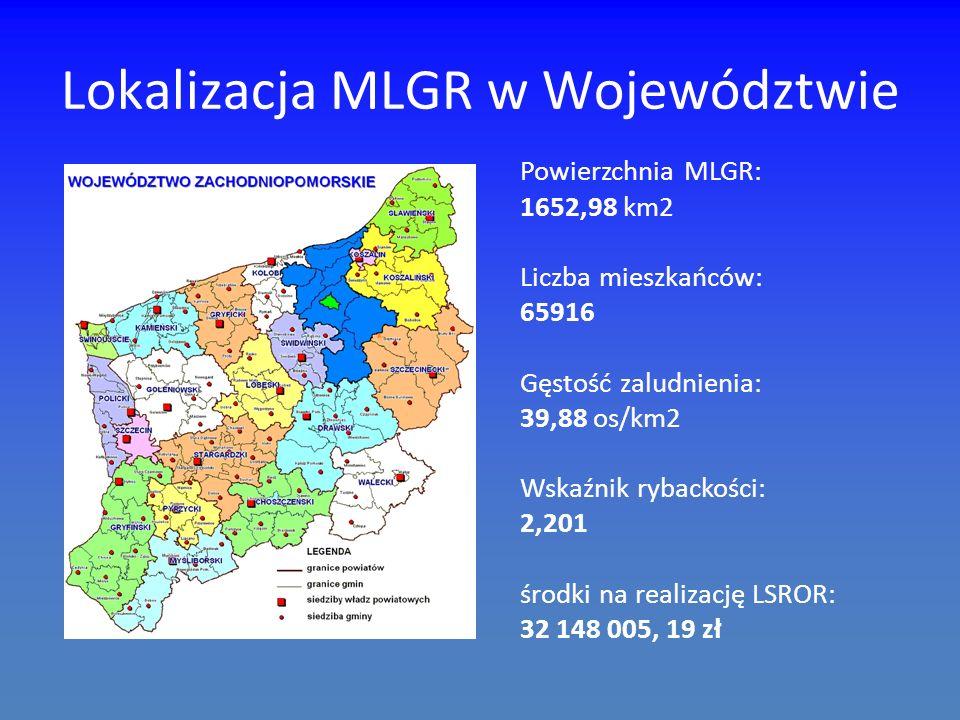 Lokalizacja MLGR w Województwie Powierzchnia MLGR: 1652,98 km2 Liczba mieszkańców: 65916 Gęstość zaludnienia: 39,88 os/km2 Wskaźnik rybackości: 2,201 środki na realizację LSROR: 32 148 005, 19 zł
