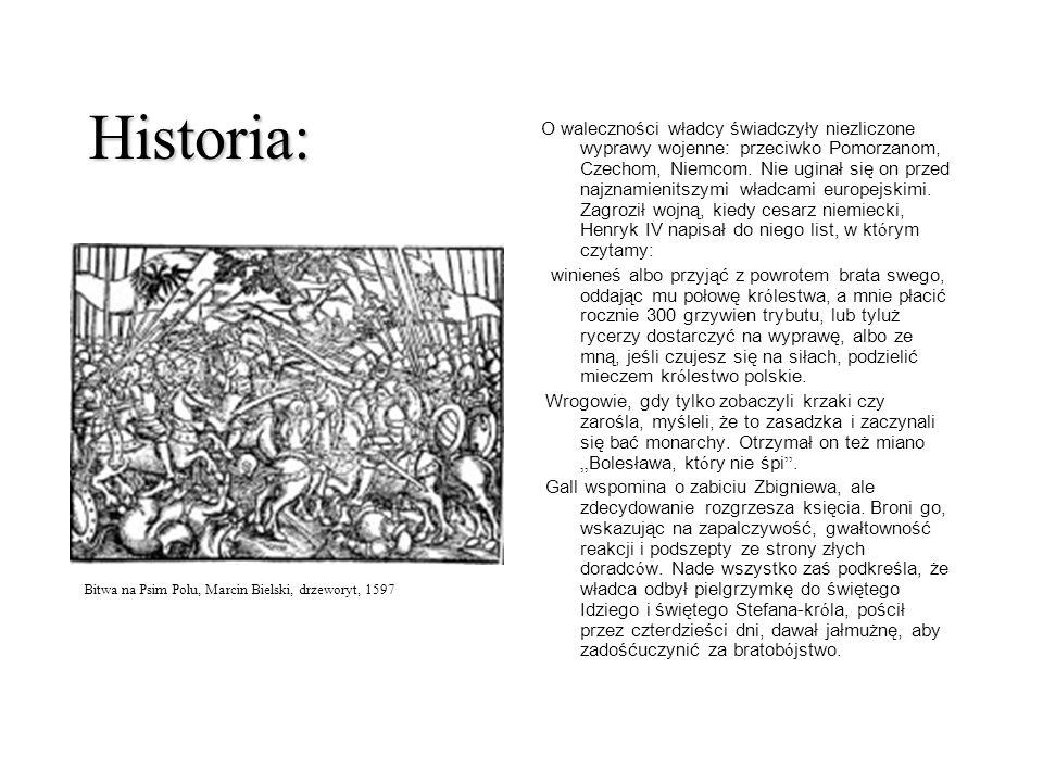 Historia: O waleczności władcy świadczyły niezliczone wyprawy wojenne: przeciwko Pomorzanom, Czechom, Niemcom. Nie uginał się on przed najznamienitszy