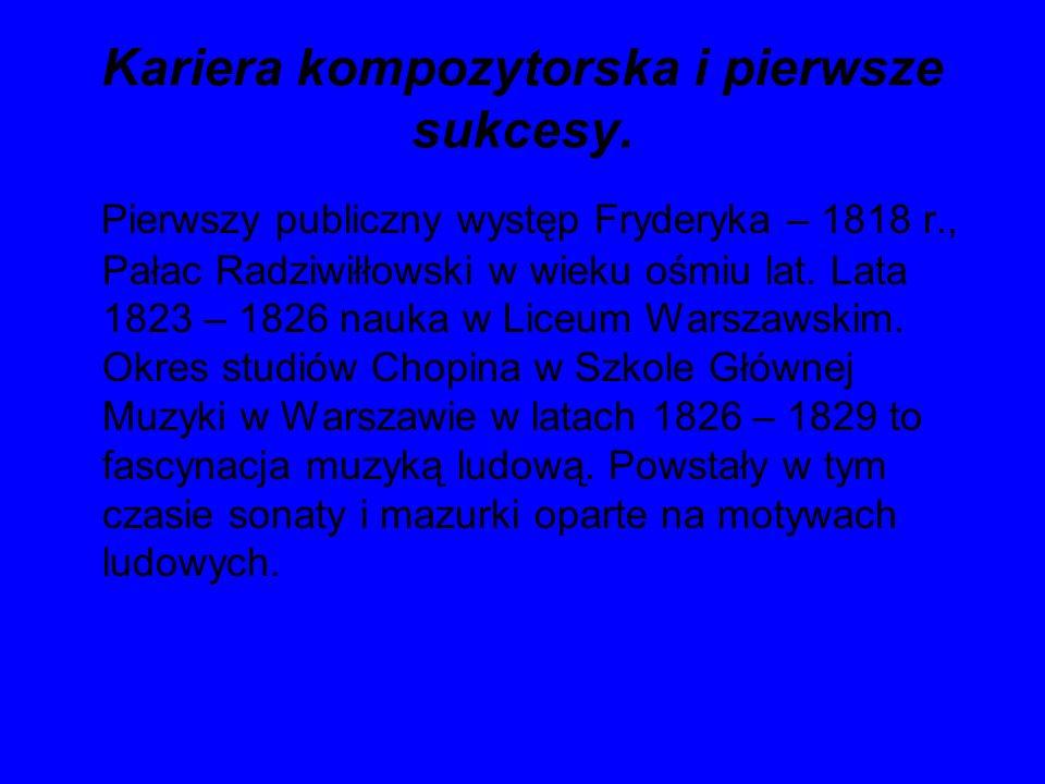 Kariera kompozytorska i pierwsze sukcesy. Pierwszy publiczny występ Fryderyka – 1818 r., Pałac Radziwiłłowski w wieku ośmiu lat. Lata 1823 – 1826 nauk