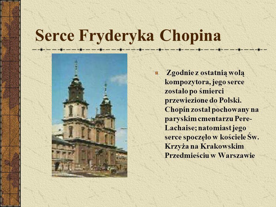 Utwory Fryderyka Chopina Preludium Deszczowe Des-dur nr 15 (kompozycja cyklu 1838-1839) Etiuda Rewolucyjna (kompozycja cyklu 1829-1833) Mazurek f-moll