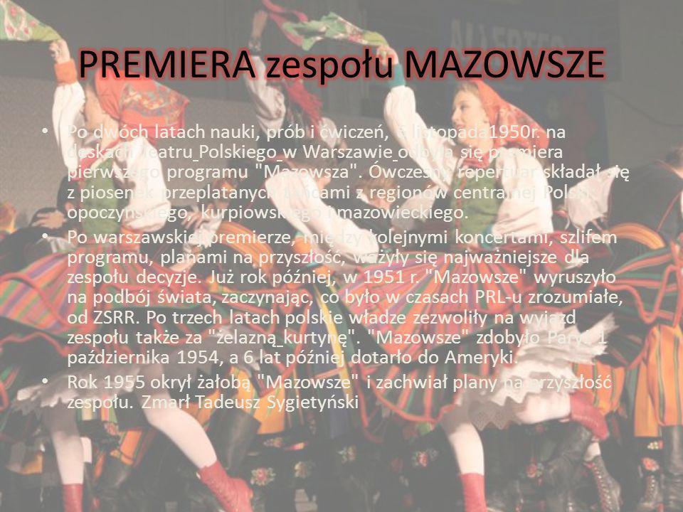 Po dwóch latach nauki, prób i ćwiczeń, 6 listopada1950r. na deskach Teatru Polskiego w Warszawie odbyła się premiera pierwszego programu
