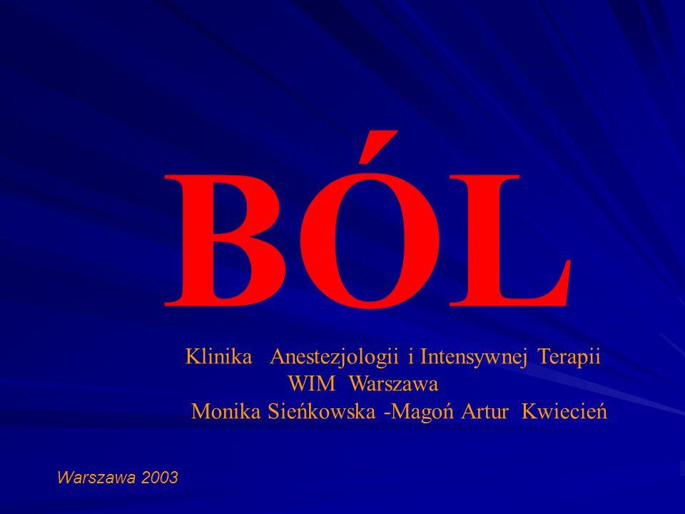 BÓL Klinika Anestezjologii i Intensywnej Terapii WIM Warszawa Monika Sieńkowska -Magoń Artur Kwiecień Warszawa 2003