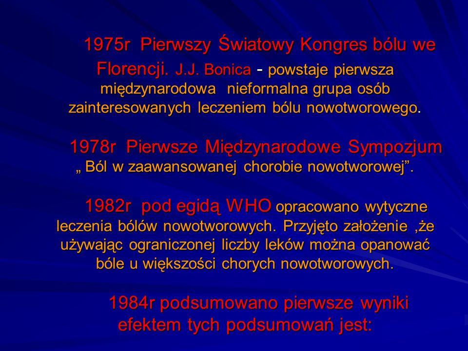 1975r Pierwszy Światowy Kongres bólu we Florencji. J.J. Bonica - powstaje pierwsza międzynarodowa nieformalna grupa osób zainteresowanych leczeniem bó