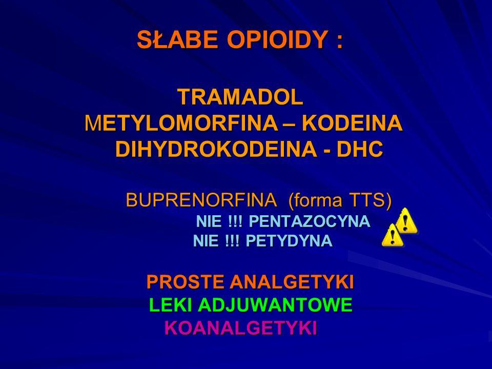 SŁABE OPIOIDY : TRAMADOL METYLOMORFINA – KODEINA DIHYDROKODEINA - DHC BUPRENORFINA (forma TTS) NIE !!! PENTAZOCYNA NIE !!! PETYDYNA PROSTE ANALGETYKI