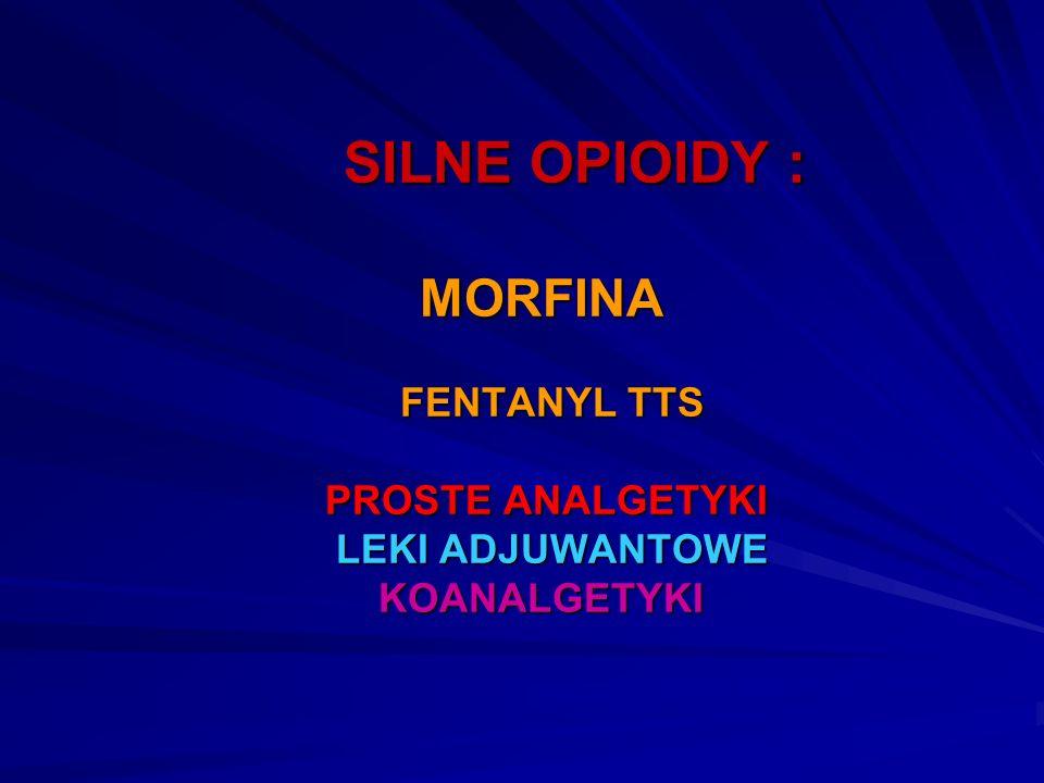 SILNE OPIOIDY : MORFINA FENTANYL TTS PROSTE ANALGETYKI LEKI ADJUWANTOWE KOANALGETYKI SILNE OPIOIDY : MORFINA FENTANYL TTS PROSTE ANALGETYKI LEKI ADJUW