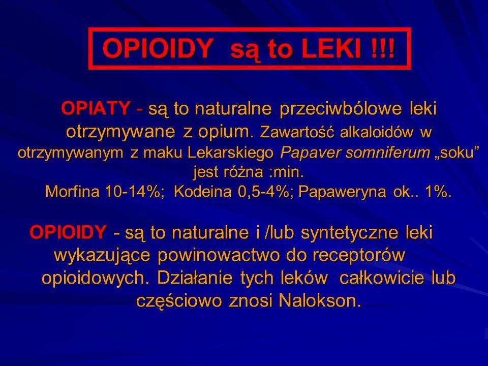 OPIOIDY są to LEKI !!! OPIATY - są to naturalne przeciwbólowe leki otrzymywane z opium. Zawartość alkaloidów w otrzymywanym z maku Lekarskiego Papaver