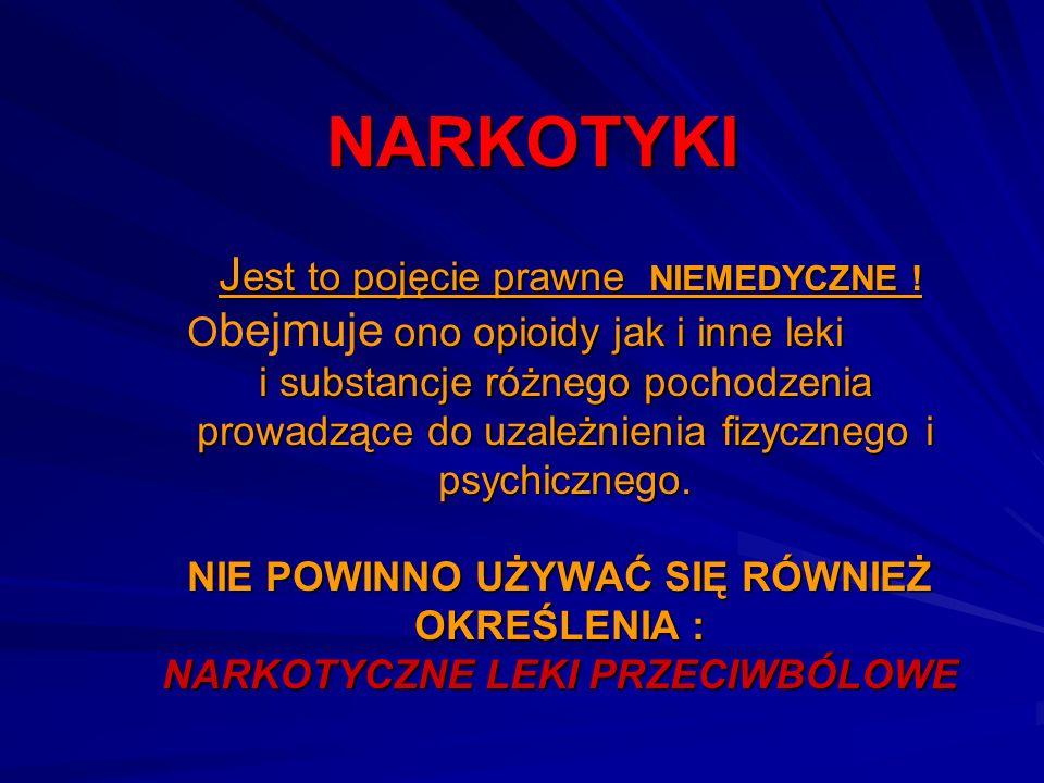 NARKOTYKI J est to pojęcie prawne NIEMEDYCZNE ! ono opioidy jak i inne leki i substancje różnego pochodzenia prowadzące do uzależnienia fizycznego i p