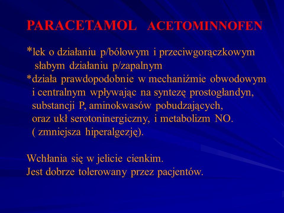 PARACETAMOL ACETOMINNOFEN * lek o działaniu p/bólowym i przeciwgorączkowym słabym działaniu p/zapalnym *działa prawdopodobnie w mechaniźmie obwodowym