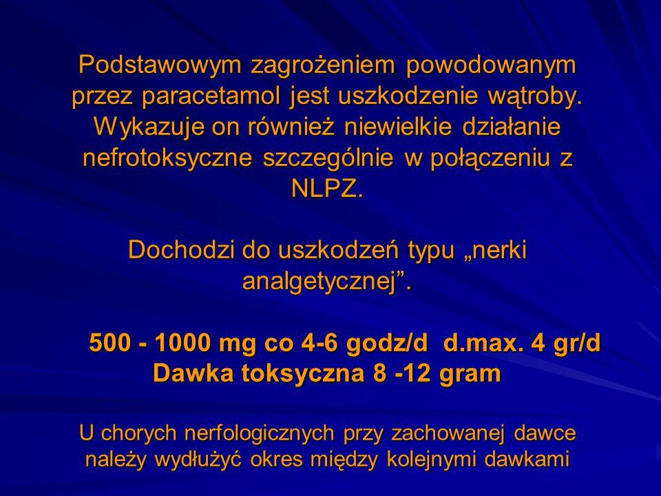 Podstawowym zagrożeniem powodowanym przez paracetamol jest uszkodzenie wątroby. Wykazuje on również niewielkie działanie nefrotoksyczne szczególnie w